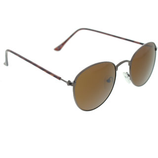 Vast  Unisex Brown Metal Stylish Sunglass twiceRoundMETALBROWNDEMMY