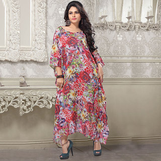 Prominent Shaded colourful floral floor length kaftan