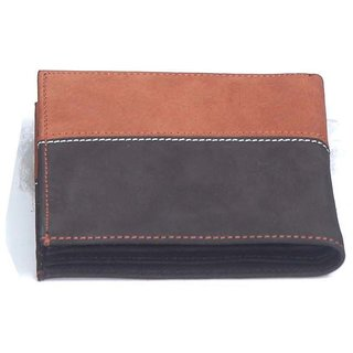 Nubuck Dual Colour Mens Wallet - Black Tan (W 15 - BLKTN)