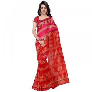 Florence Pink  Red Printed Silk Printed Saree(FL-11253)