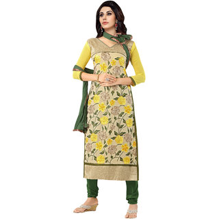Manvaa Yellow With Cream Georgette Churidar Material