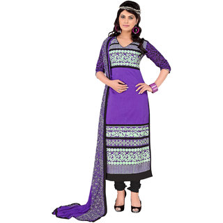 Manvaa Purple Cotton Churidar Material