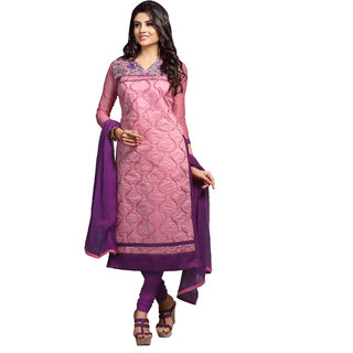 Manvaa Pink Cotton Churidar Material