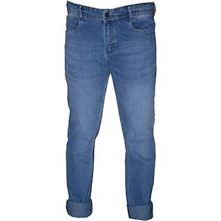 L Zard Men's Streachable Solid Regular Fit Blue Jeans