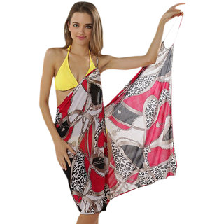 Glamorous Open Back,Fashionable Multi Digital Print Bikini Cover Up Wrap Dress
