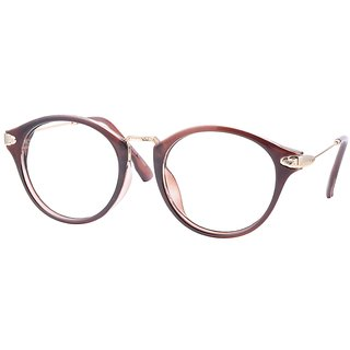 Buy Comfortsight Brown Gold Polycarbonate Metal Eye Glass Frame For