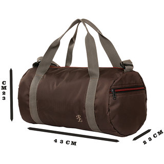 checkered Light Weight Travel Cum Gym Bag Brown