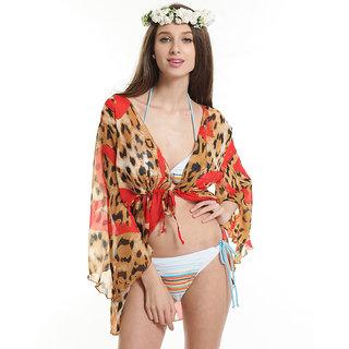 Sizzling Orange Leopard Print Beach Cover-Beach Dress