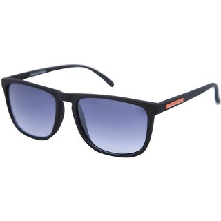 Gansta Mh1018 Black With Orange Mirror Lens Rectangular Wayfarer Sunglasses