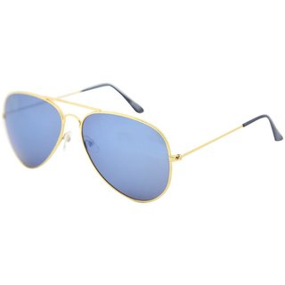 Gansta Gn1025 Golden Aviator Sunglass With Blue Mirror Lenses