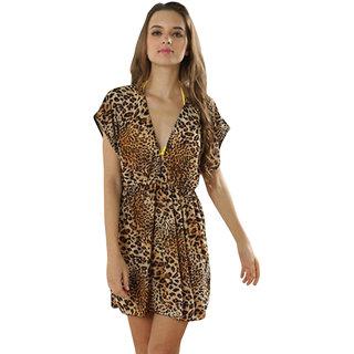 Fierce And Fabulous Leopard Print Kaftan-Beach Dress