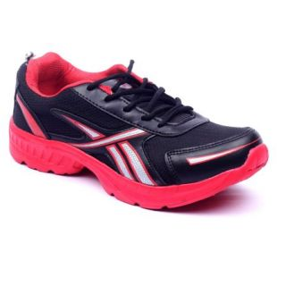 Foot 'n' Style Comfortable Black & Yellow Sports Shoes (fs433)