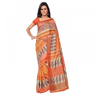 Aaina Orange Silk Printed Saree With Blouse