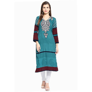 Lookslady Printed Turquoise Polyester Kurti