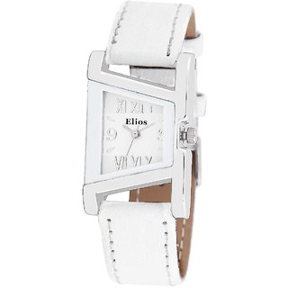 Elios Unique Design White Dial Watch for Women