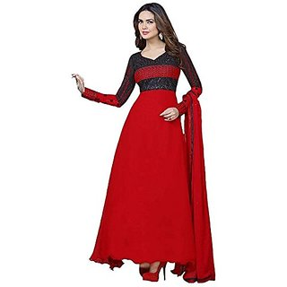 Red Color Embroidery SemiStitched Salwar Suit Material