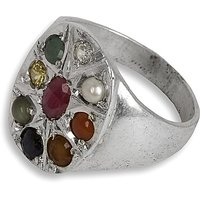 Silverwala Silver Pearl, Coral, Sapphire, CatS Eye, Emerald, Cubic Zirconia, Ruby Ring (FRG137)