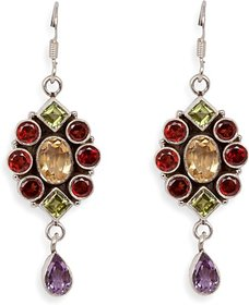 Silverwala Garnet, Amethyst, Peridot Silver Dangle Earring (TRS1089)