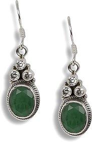 Silverwala Emerald, Cubic Zirconia Silver Dangle Earring (TRS3687C)