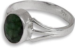 Silverwala Silver Emerald Ring (GEF451EA)