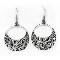 Silverwala Quarter Moon Silver, Sterling Silver Dangle Earring (EROESL000000015)
