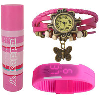 Jack Klein Combo Of Synthetic Leather Multicolor Analog-Digital Round Wrist Watch And Deodorant