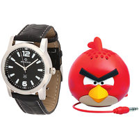 Maxima Combo Of Maxima Synthetic Leather Black Analog Round Wrist Watch And Angry Speakar