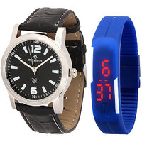 Maxima Combo Of Maxima Synthetic Leather Multicolor Analog-Digital Round Wrist Watch