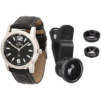 Maxima Combo Of Maxima Synthetic Leather Black Analog Round Wrist Watch And Clip Lens