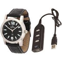 Maxima Combo Of Maxima Synthetic Leather Black Analog Round Wrist Watch And USB HUB