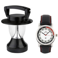 Maxima Combo Of Maxima Synthetic Leather Black Analog Round Wrist Watch And Lantern