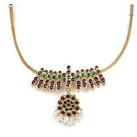 Silverwala Spinel, Pearl Yellow Gold Plated Silver Necklace (TJSTSL000000041)