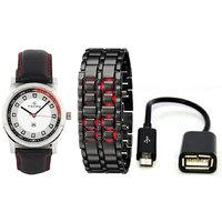 Maxima Combo Of Maxima Synthetic Leather Black Analog-Digital Round Wrist Watch And USB