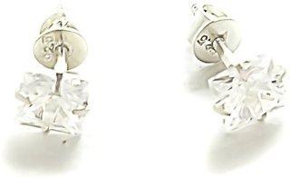 Silverwala Princess Cut Cubic Zirconia Silver Stud Earring (ST1484P)