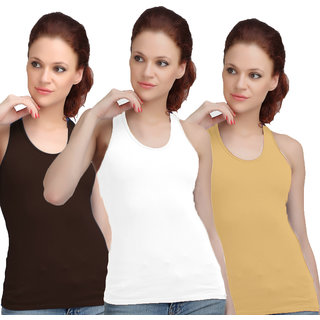 Sona WomenS Black/Skin/White Racer Back Camisole