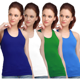 Sona WomenS Blue/White/Green/Sky Blue Racer Back Camisole