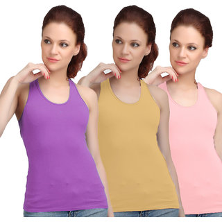 Sona WomenS Purple/Skin/Pink Racer Back Camisole