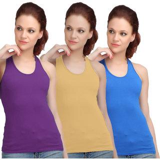 Sona WomenS Purple/Skin/Sky Blue Racer Back Camisole