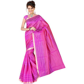 Fabplus Pink Cotton Self Design Saree With Blouse