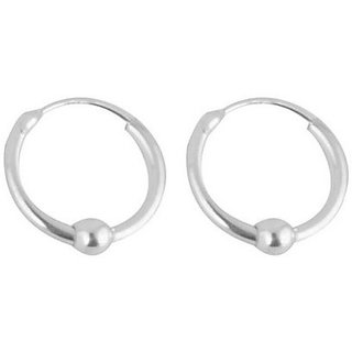 Silverwala Shinny Ring Silver Hoop Earring (BLP430)