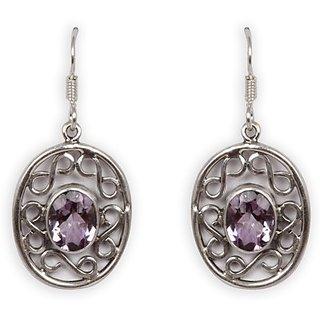 Silverwala Amethyst Stone Amethyst Silver Drop Earring (TRS3646A)