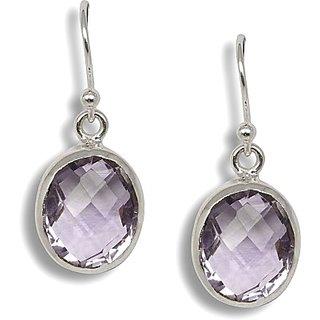 Silverwala Princess Delight Amethyst Silver Drop Earring (TRS3703)