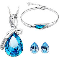 CYAN bow style crystal jewelry set Combo  with charming bracelet