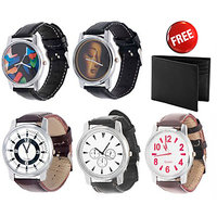 Jack Klein Combo Of Synthetic Leather Multicolor Analog Round Wrist Watch And Wallet