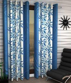Geonature Sky Blue Kolavery Eyelet Window Curtains Set Of 2 Size 4X5 (WIN5F-69)