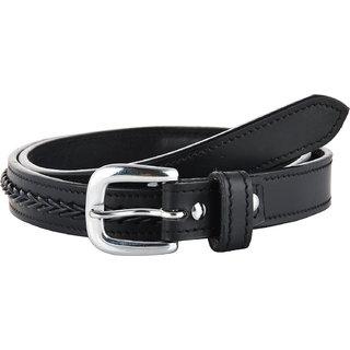 STERLING GERMANY For Women Black Leather V- Braiding Belt