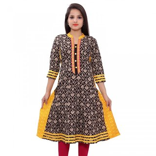 Jaypore Fashion Yellow Printed With  Strong embroidery Kurti