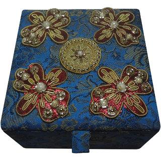 Avinash Handicrafts Jewellery Box (butterfly design) 10x10 cm Blue