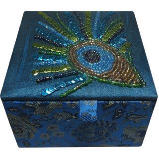 Avinash Handicrafts Jewellery Box (Square Shape) 10x10 cm Blue