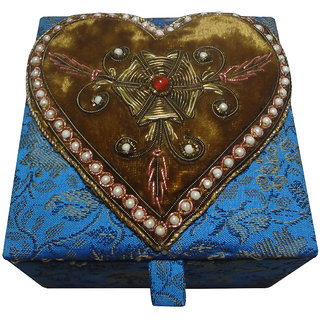 Avinash Handicrafts Jewellery Box (brown heart design) 10x10 cm Blue